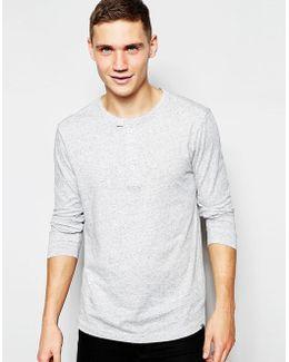Long Sleeve Top Riban Grandad Fabric Placket In Grey Heather