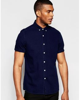 Denim Shirt In Navy With Short Sleeves In Regular Fit