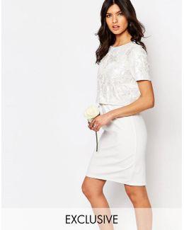Embellished Crop Top Midi Pencil Dress