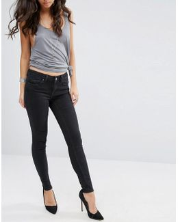 Lisbon Midrise Skinny Jeans In Washed Black