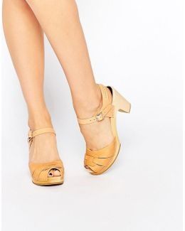 Natural Leather Peep Toe Super High Sandals