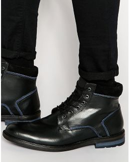Lace Up Boots In Black Leather