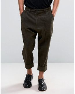 Drop Crotch Smart Trousers In Brown Wool Look Fabric With Heavy Turn Up