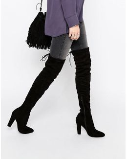 Olivia Tie Back Heeled Thigh High Boots