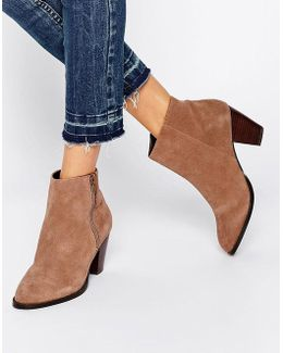 Western Zip Side Suede Boots