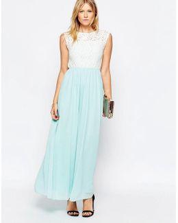 Lace Top Maxi Dress With Chiffon Skirt