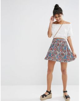 Skater Skirt In Ditsy Print
