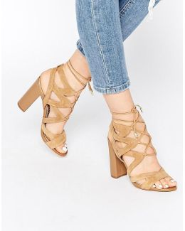 Caramel Ghillie Block Heeled Sandals