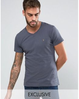 T-shirt With V Neck & F Logo Slim Fit Exclusive