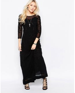 Say You Love Me Lace Panel Maxi In Black