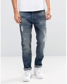 Intelligence Light Blue Washed Jeans In Anti Fit With Rip Repair Detail