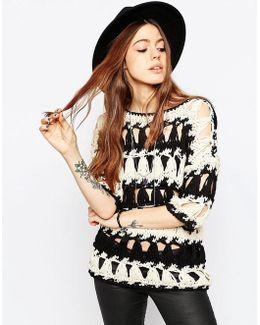 Hand Crochet Jumper In Slouchy Stripe