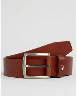 Denton Flag Logo Leather Belt In Tan