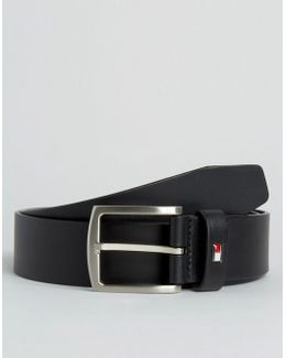 Denton Flag Logo Leather Belt In Black