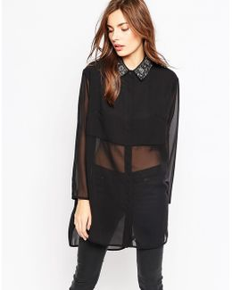 Diamond Fringe Oversize Shirt