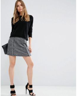 Textured Skirt With Fringe Detail