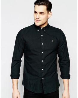 Brewer Oxford Shirt Slim Fit Buttondown In Black