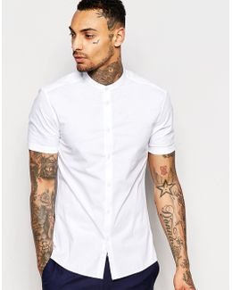 Skinny Shirt With Grandad Collar And Short Sleeves In White