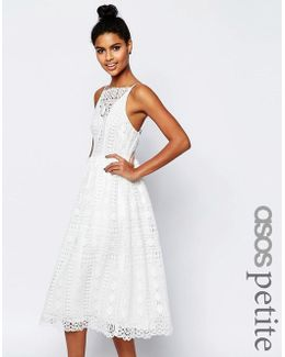Premium Occasion Midi Dress In Geo Lace