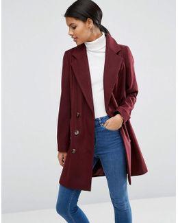Pea Coat With Seamed Pockets
