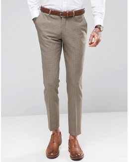 Skinny Houndstooth Wedding Suit Pants With Stretch