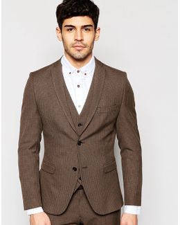 Skinny Dogtooth Suit Jacket With Stretch