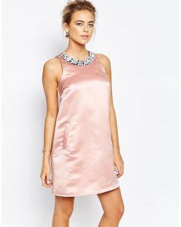 A Line Mini Dress With Embellishment