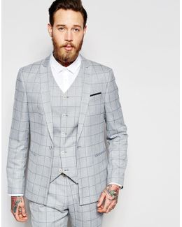 Skinny Suit Jacket In Light Blue Check