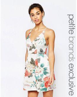 Tropical Brocade Cami Prom Dress