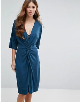 Knot Front Jersey Dress
