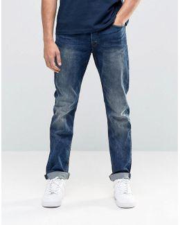 Vintage Wash Regular Fit Jeans With Stretch