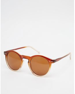 Keyhole Round Sunglasses With Brown To Clear Fade Frame