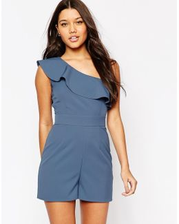 One Shoulder Playsuit With Ruffle Detail
