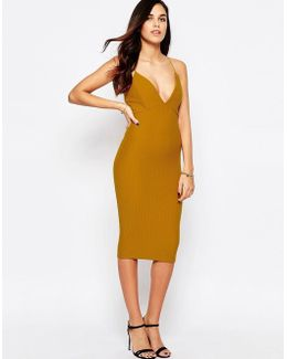 Plunge Front Midi Dress In Waffle