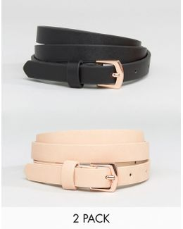 2 Pack Rose Gold Buckle Waist And Hip Belts