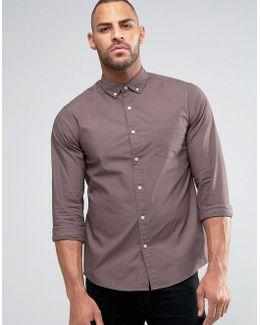 Regular Fit Twill Shirt In Purple
