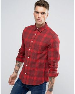 Overshirt With Waffle Check In Red