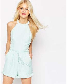 High Neck Ruffle Hem Playsuit With Rope Tie