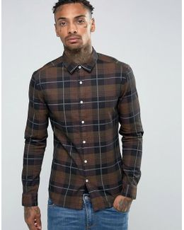 Skinny Denim Check Shirt In Brown