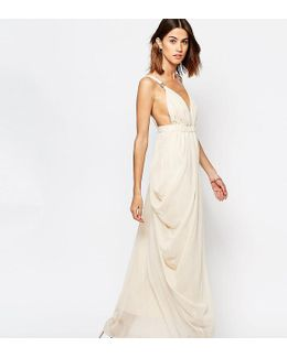 Plunge Front Grecian Maxi Dress