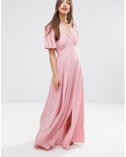 Pretty Maxi Dress With Ruffle Sleeve
