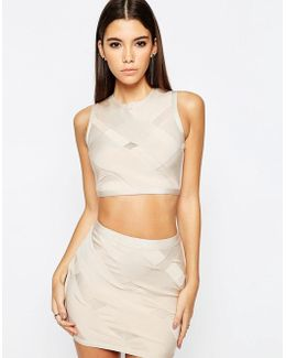Night Co-ord Top In Premium Bandage With Cross Detail