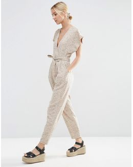Belted Jumpsuit With Kimono Wrap In Woven Check