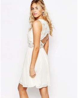 2 In 1 Lace Top Skater Dress With Scallop Back