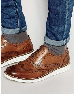 Derby Shoes In Tan Leather