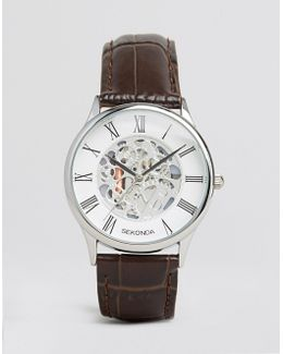 Exposed Mechanical Skeleton Leather Watch In Brown Exclusive To Asos