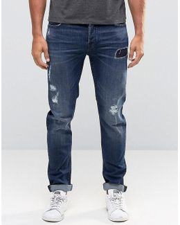 Mid Blue Jeans With Rip Repair Detail In Slim Fit