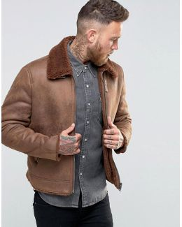 Faux Shearling Jacket In Brown