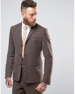 Slim Suit Jacket In Brown Herringbone