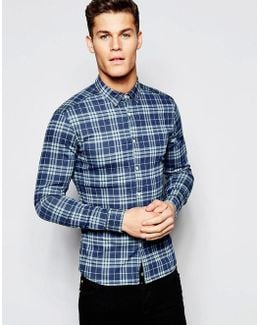 Skinny Denim Shirt With Check In Rinse Wash